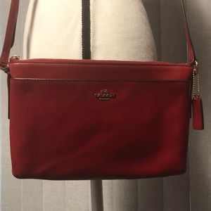 Coach Red/Burnt Orange Crossbody Purse EUC